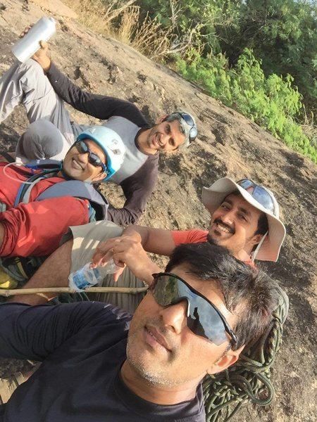 Route equippers. Clockwise from left: Sohan (helmet), Gokul, Bhaskar, Satish