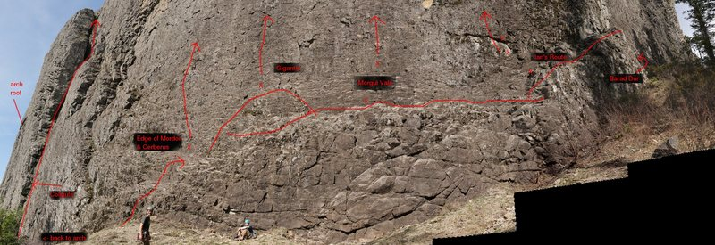 Photo of the Wolf right-side route starting locations & first/belay bolts.