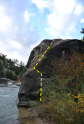 Rock Climbing Photo: Riverside follows the yellow line.