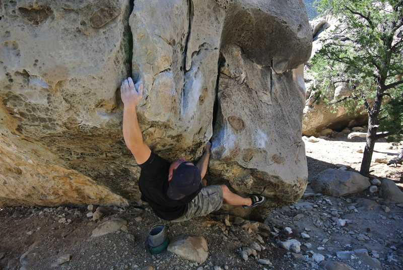 The first move of North Arete can be done from a bomber hand jam.