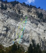 Rock Climbing Photo: Pearly Gates = Yellow Hellgate Highway = Green Wal...
