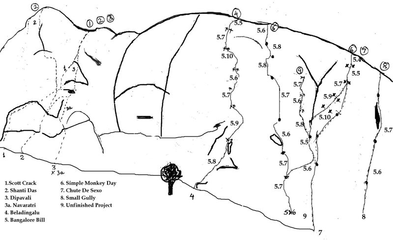 Old topo. A few routes are missing, including a popular 5.5 (Cloud Nine).