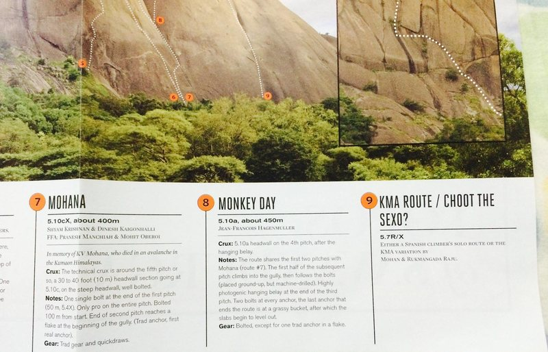 Rock Climbing Photo: Savandurga topo, courtesy The Outdoor Journal