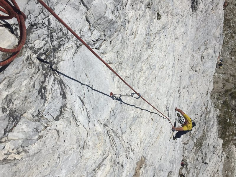 """Rock Climbing Photo: Carl Dec on the first pitch of """"The Pearly Ga..."""