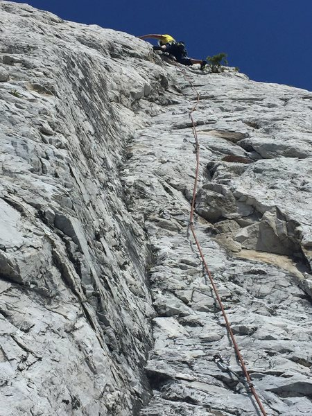 Rock Climbing Photo: Carl at the crux of the second pitch. Continues te...