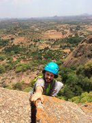 Rock Climbing Photo: Aron topping out. New to climbing trad, Aron is cl...