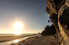 Rock Climbing Photo: Kristen Moon at Moonstone Beach.