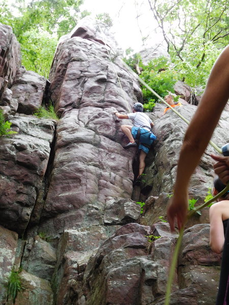 Rock Climbing Photo: Tim going up the right side crack/chimney.