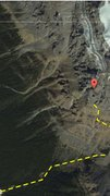 Rock Climbing Photo: Dropped pin is the route. Line shows roughly the a...