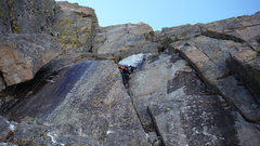 Rock Climbing Photo: Alexander's Chimney P5 on Long's. Conditio...
