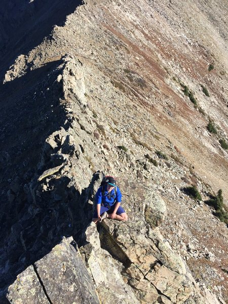Climbing the knife edge on Peak 4.