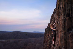 Rock Climbing Photo: Annie looking for a final foot to top out on Broad...