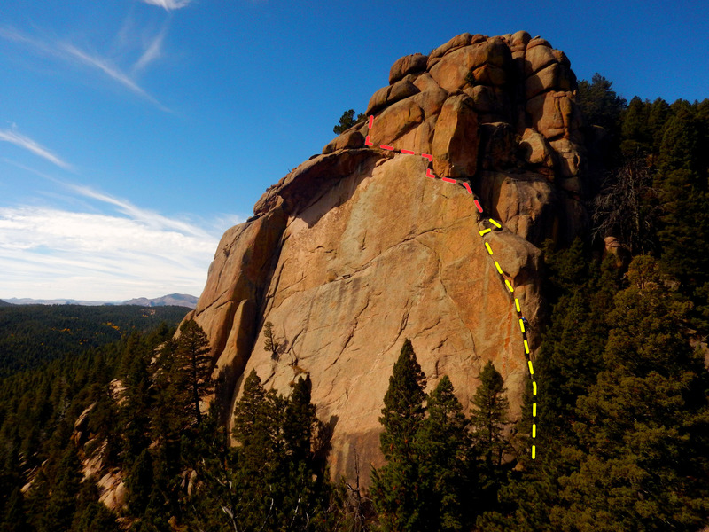 Route topo. <br> <br> Pitch 1, 5.10 - yellow.<br> Pitch 2, 5.11-12? - un-climbed, red.<br>