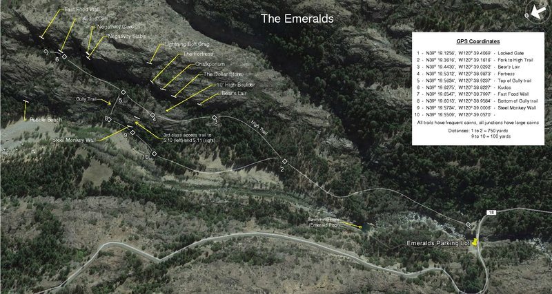 Map of the Emeralds (Rev. 10/2/16)<br> Mostly of the Benches. The information is from the original hand drawn maps by John Robinson. View full size for detailed view.