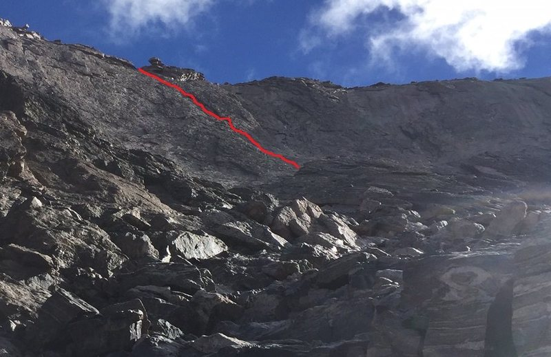 A rough line of the route from near the top of the triangular buttress, which is visible to the lower right.  Note the small, broken tower at the top of the route - this is an excellent landmark.