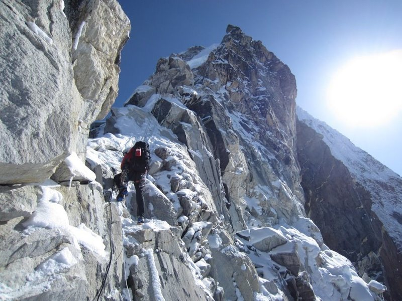 Climbing up to the Yellow Tower on Ama Dablam SW Ridge