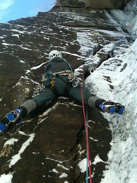 Rock Climbing Photo: Opening moves on Storm Warning, Poke-O-Moonshine