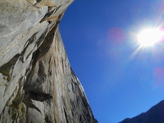 Rock Climbing Photo: Looking up the first pitch of the climb, it's ...