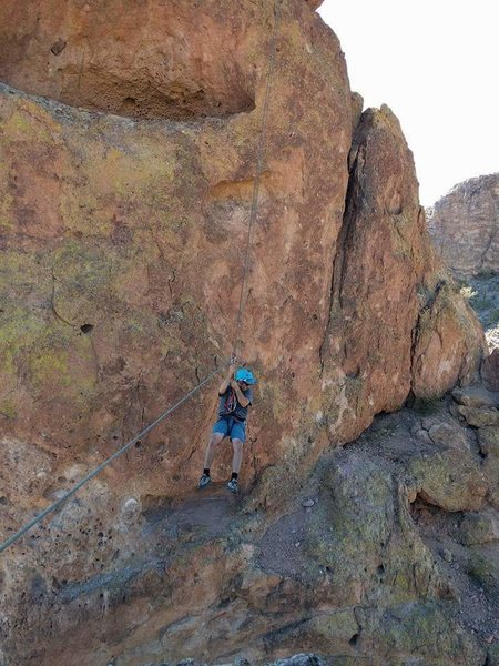 Rock Climbing Photo: Josh riding the tyrolean traverse to  lower summit...