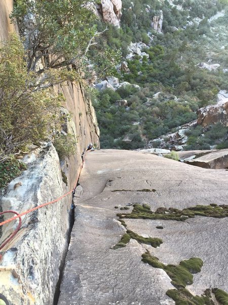 Rock Climbing Photo: Stacey following the long amazing splitter on p3 o...