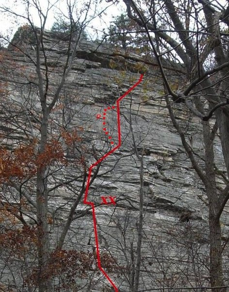 Rock Climbing Photo: There's a variation on P2 that passes a pin on...