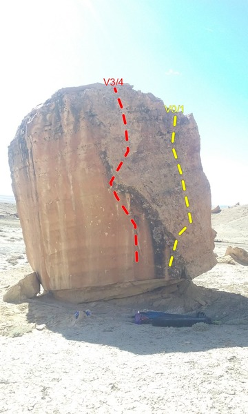 Gunshot Boulder, North Side. <br> Yellow is .22LR<br> Red is .30-30 Lever Action