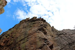 Rock Climbing Photo: Wrapping up the top half on a redpoint of Monstros...