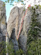 Rock Climbing Photo: As Seen from pay dirt pinnacle. Red: Route, Yellow...