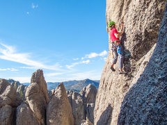 Rock Climbing Photo: Mark Rafferty drilling first bolt