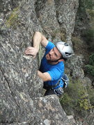 Rock Climbing Photo: Josh pulling out of the lower portion of the route...