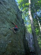 Rock Climbing Photo: Rob is working the moves to get up to the first go...