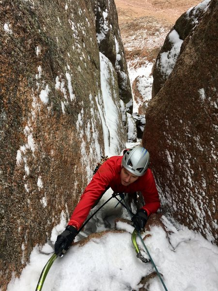 Rock Climbing Photo: The crux exit of Blind Assumption, Pike's Peak...