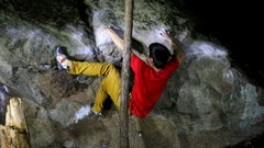 Rock Climbing Photo: Prepping for the crux throw of the top out.