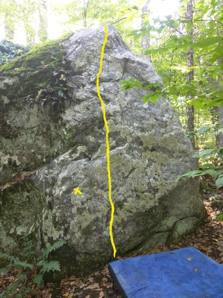Stand start with one hand on the X and the other hand on one of the numerous crimps to the right of the route. <br> <br>