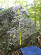 Stand start with one hand on the X and the other hand on one of the numerous crimps to the right of the route.  <br /> <br />
