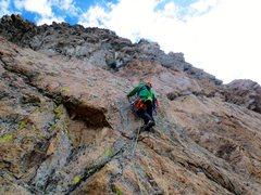 Rock Climbing Photo: Tim on first ascent, starting P3