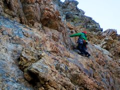 Rock Climbing Photo: Tim on P1 during the first ascent of rack of ram