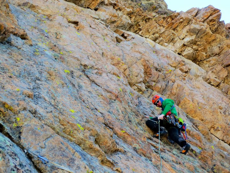 Pitch 3 rack of ram during the first ascent.