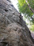 Rock Climbing Photo: Michael is clipping last bolt before the chains on...