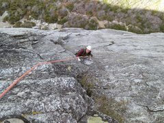 Rock Climbing Photo: Angela Climbering the first pitch