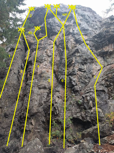 Many of the climbs at Rhinozone. Many new bolts have been added for alternative finishes. I&@POUND@39@SEMICOLON@ve done my best to describe the options. All grades are from the book.<br> <br> 1) Missionary&@POUND@39@SEMICOLON@s Exposition (5.8/9) depending on whether you stem. <br> 2) The 5.10b extended finish of Missionary&@POUND@39@SEMICOLON@s Exposition.<br> 3) Crazy Mzungu (5.7). Stem and climb the jugs up the chimney to the anchors for Missionary&@POUND@39@SEMICOLON@s Exposition.<br> 4) Rhinoplasty (5.10c) if following the initial route, which is the right of the shown alternatives. The left finish, labeled 4b, goes at 5.10-.<br> 5) Unknown. If followed to the top anchors by moving right under the roof and then back left the the route goes at 5.10- (varation going right described below).<br> 6) Safari So Good (5.10b) with the orginal finish (going left at the top).<br> 5 and 6 Variation) The finish going right and finishing at the Rhinovirus anchors pulls a small roof and goes at 5.11-.<br> 7) Rhinovirus.