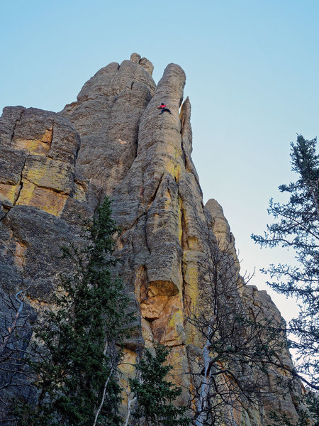 Climbers on Place Beyond the Pines. View from the trail. October 2, 2016.