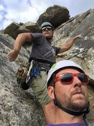 Rock Climbing Photo: Looking up from the anchors at the top of the 1st ...