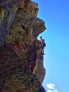 Rock Climbing Photo: First pitch after pulling out onto the arete.