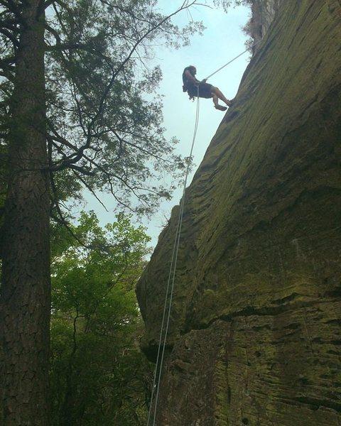 Preston Dierickx makes his way down the Green Wall.