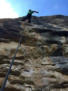 Rock Climbing Photo: Resting on the huge holds after the burly start