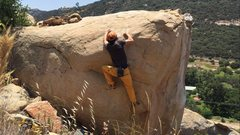 Rock Climbing Photo: Sloper problem on the back of the McQueen Boulder