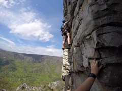 Rock Climbing Photo: Pitch two. Awesome exposed jug haul on slightly ov...