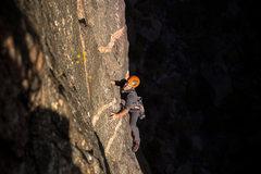 Rock Climbing Photo: Matt on the pegmatite traverse.  Photo: Tyler Case...