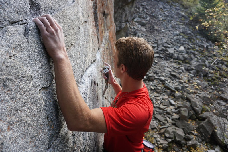 Rock Climbing Photo: Harrison Grey going for a passive stroll up Outerm...